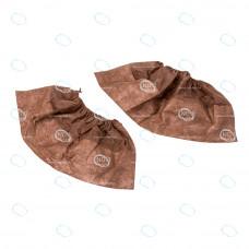 Бахилы 15см пл.42г/м2 с ламинированной подошвой на резинке (коричневые)