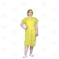 Халат кимоно одноразовый  р.52-54, Спанбонд, цв.желтый, пл.25 г/м2